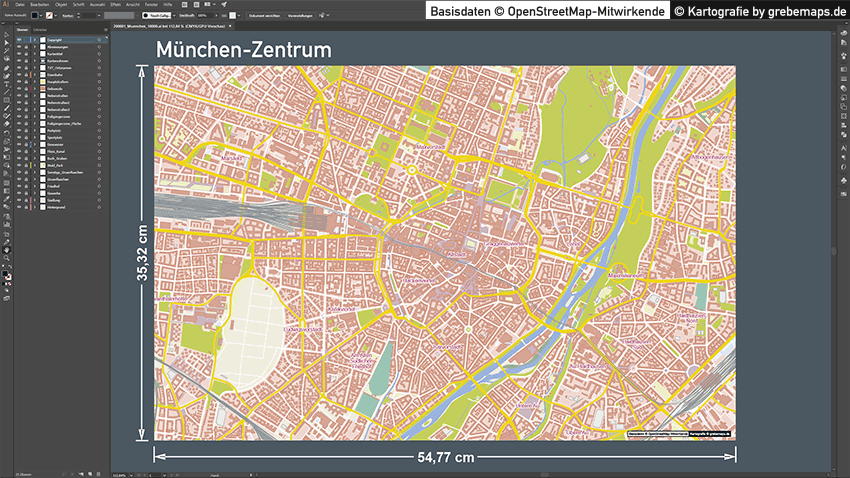 München-Zentrum Stadtplan Vektor