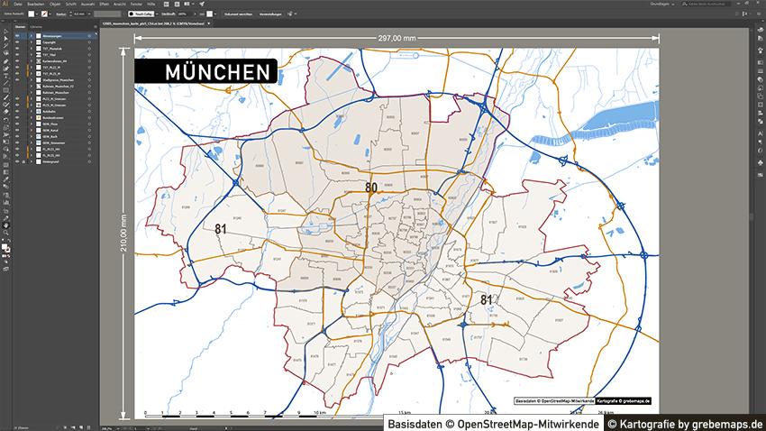 München Postleitzahlenkarte Vektor