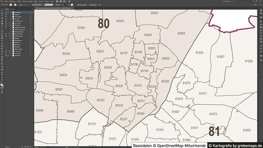 Postleitzahlen München Karte.12005 Muenchen Karte Plz5 09 Grebemaps Kartographie