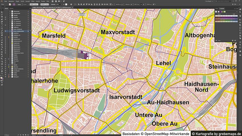 München Stadtplan Vektor mit Gebäuden, Maßstab ca. 1:40.000, Basiskarte München, Vektorkarte München, Stadtkarte München, Vektorkarte München, Vektorkarte für Illustrator, AI-Datei, AI